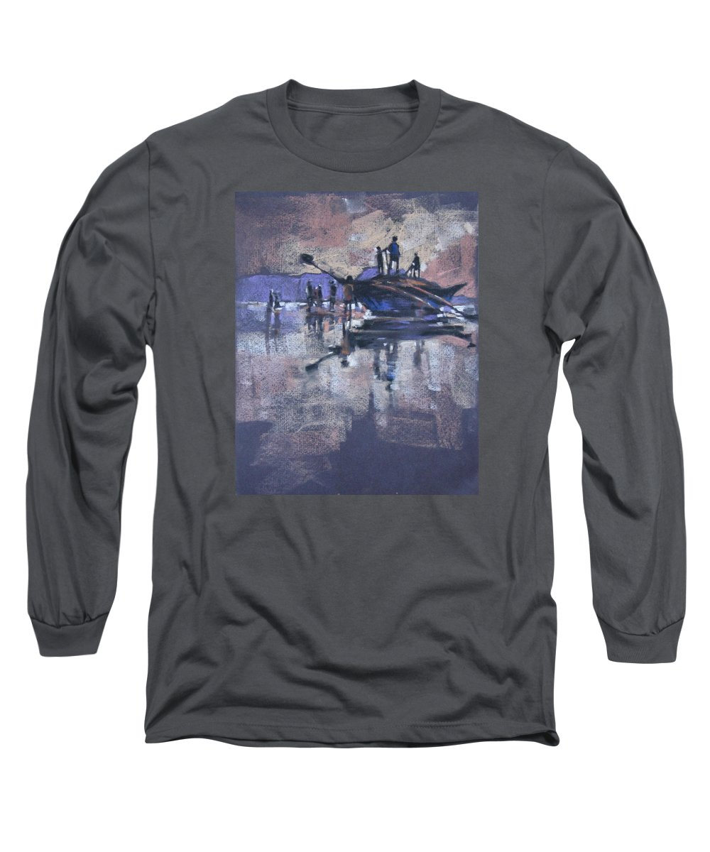 Beach Long Sleeve T-Shirt featuring the painting Sunset by Snehal Page