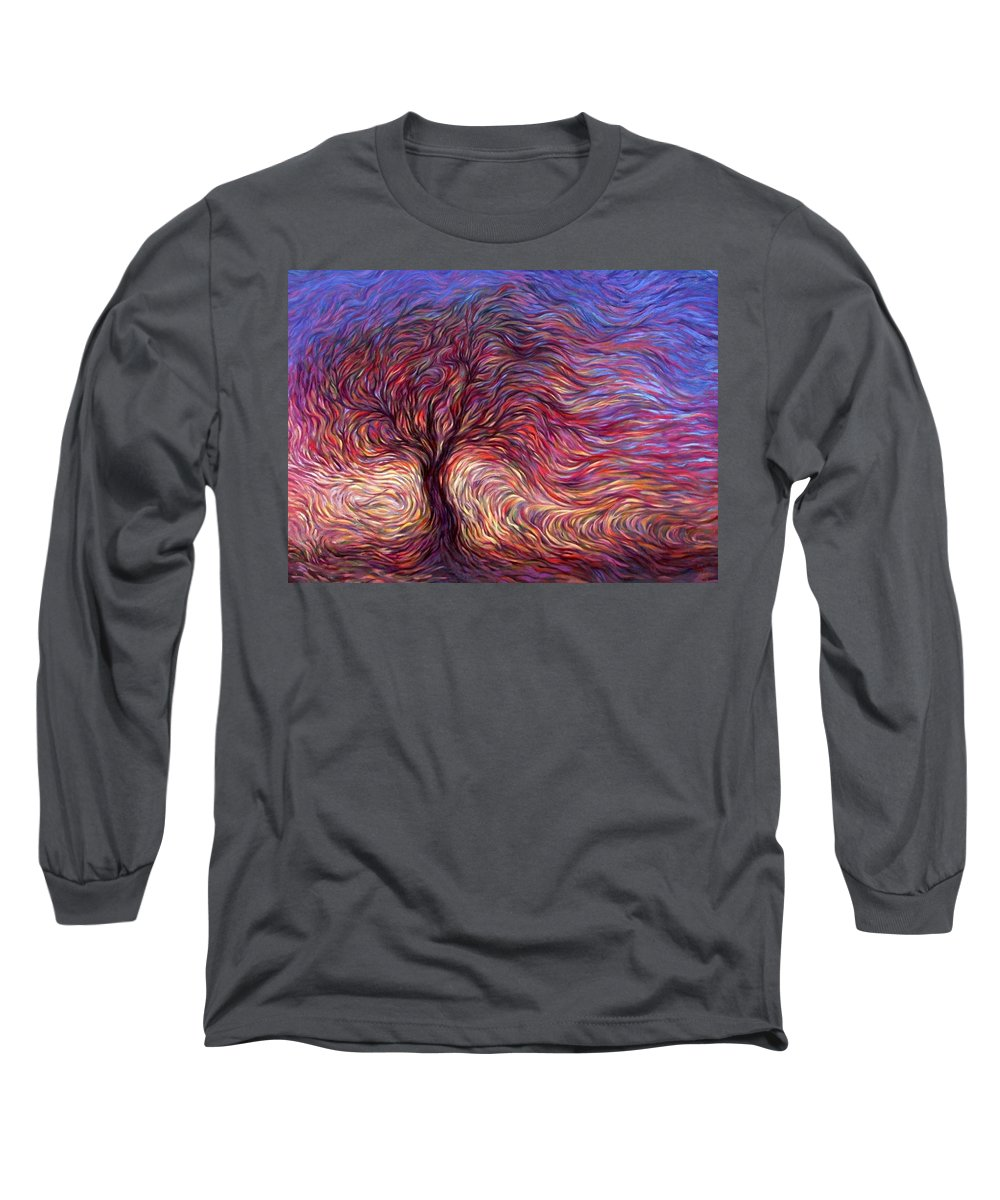 Tree Long Sleeve T-Shirt featuring the painting Sunset Tree by Hans Droog