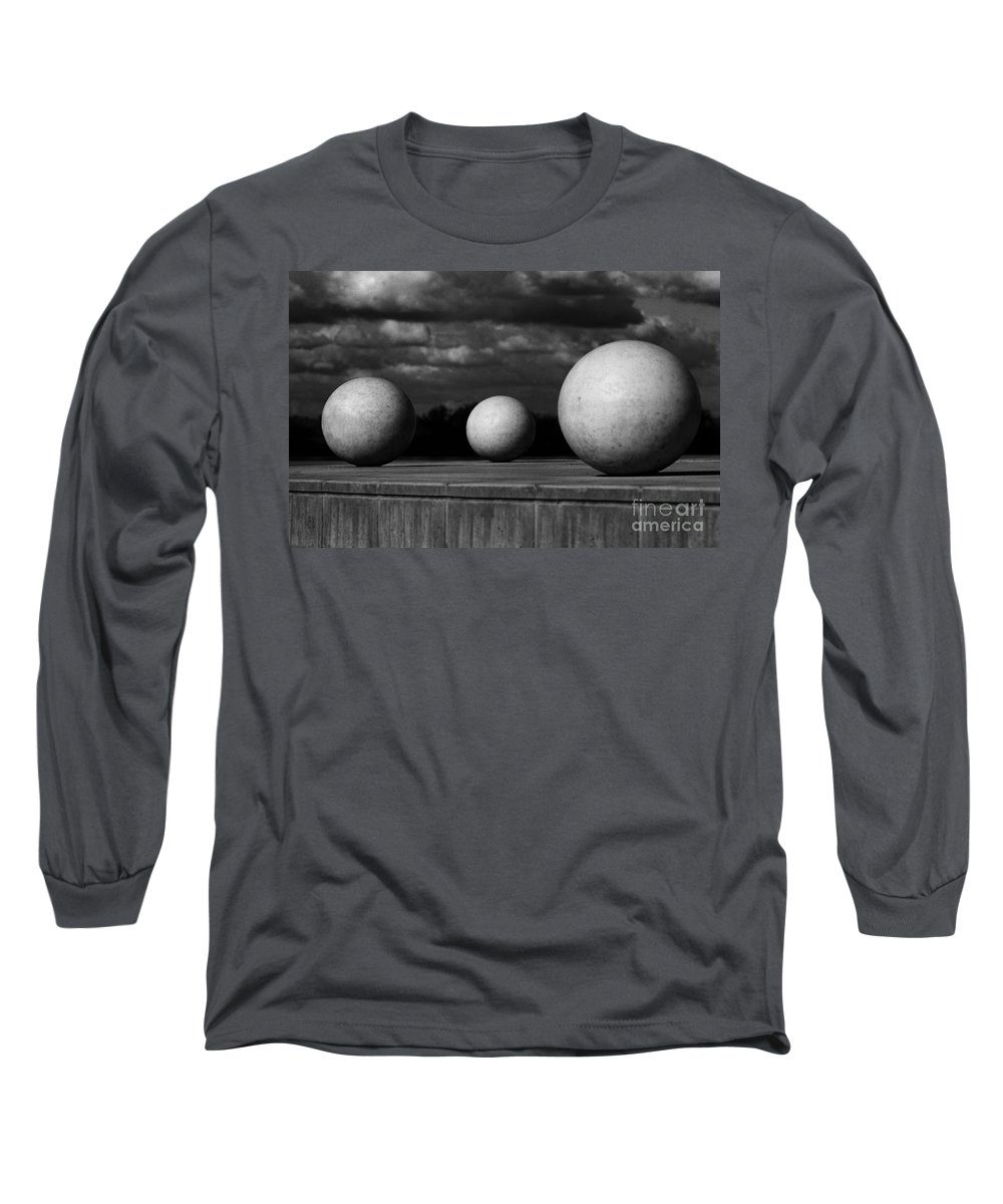 Black And White Long Sleeve T-Shirt featuring the photograph Surreal Globes by Peter Piatt