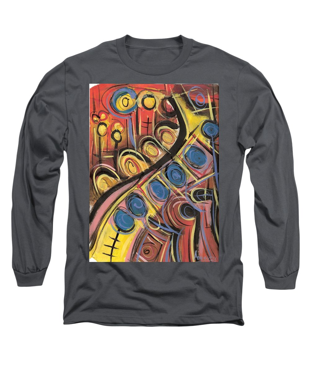 Abstract Painting Long Sleeve T-Shirt featuring the painting Sweet Music by Americo Salazar