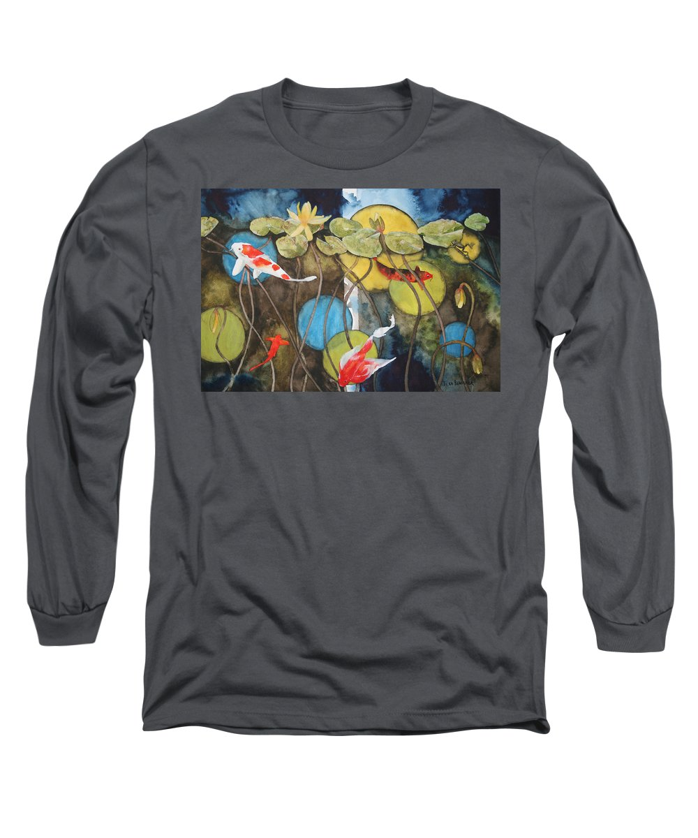 Abstract Long Sleeve T-Shirt featuring the painting Swimming In Circles by Jean Blackmer