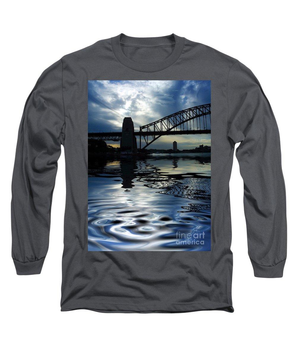Sydney Harbour Australia Bridge Reflection Long Sleeve T-Shirt featuring the photograph Sydney Harbour Bridge Reflection by Avalon Fine Art Photography