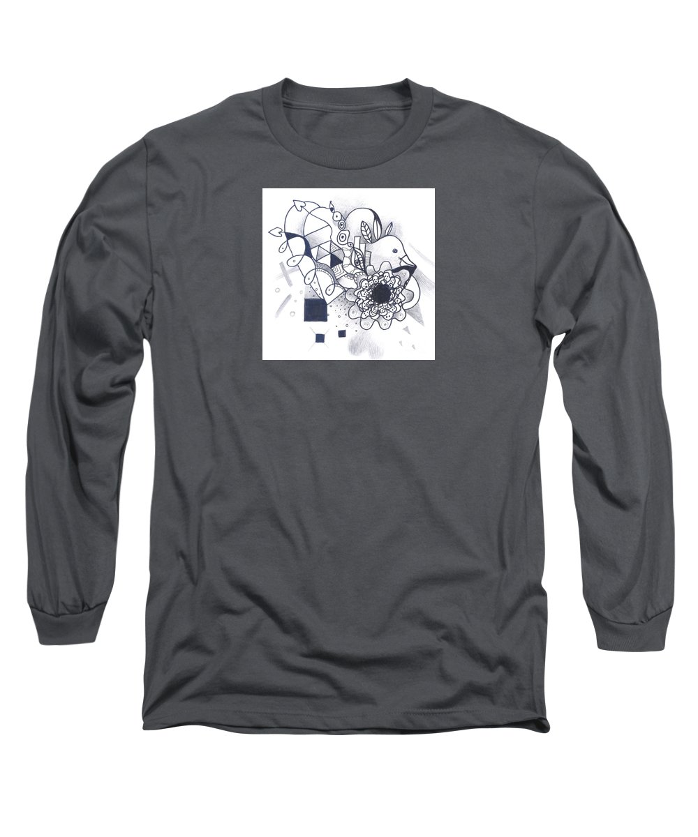 Abstract Long Sleeve T-Shirt featuring the drawing Take A Chance by Helena Tiainen