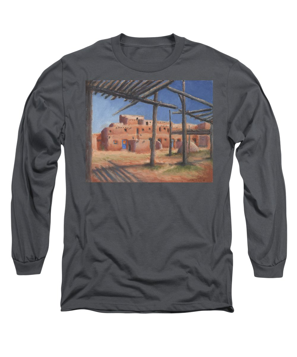 Taos Long Sleeve T-Shirt featuring the painting Taos Pueblo by Jerry McElroy