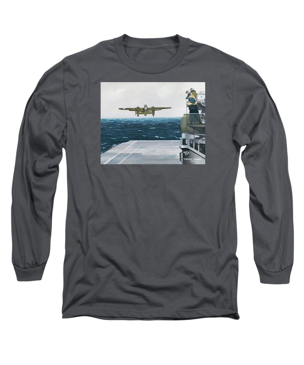 Aviation Long Sleeve T-Shirt featuring the painting Target Tokyo by Marc Stewart