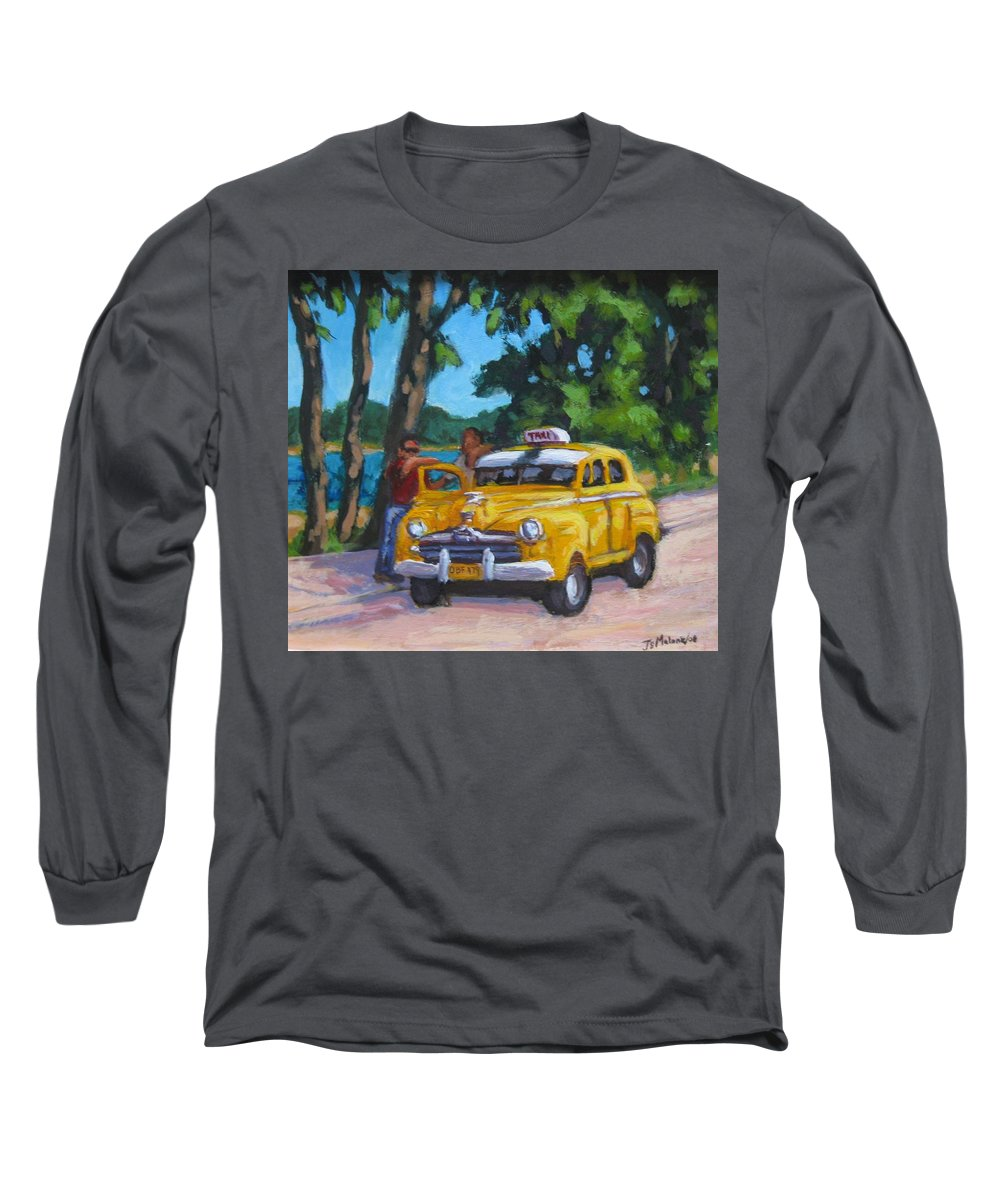 Old Cars Long Sleeve T-Shirt featuring the painting Taxi Y Amigos by John Malone