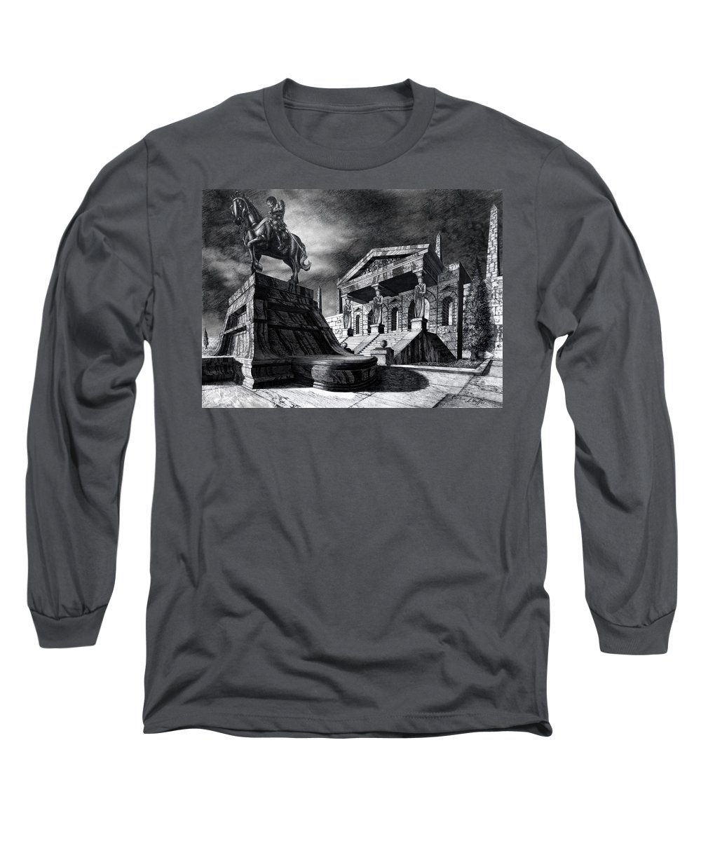 Greek Architecture Long Sleeve T-Shirt featuring the drawing Temple Of Perseus by Curtiss Shaffer