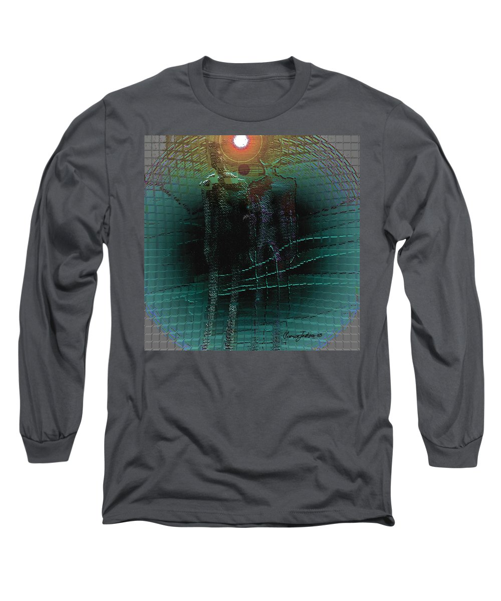 People Alien Arrival Visitors Long Sleeve T-Shirt featuring the digital art The Arrival by Veronica Jackson