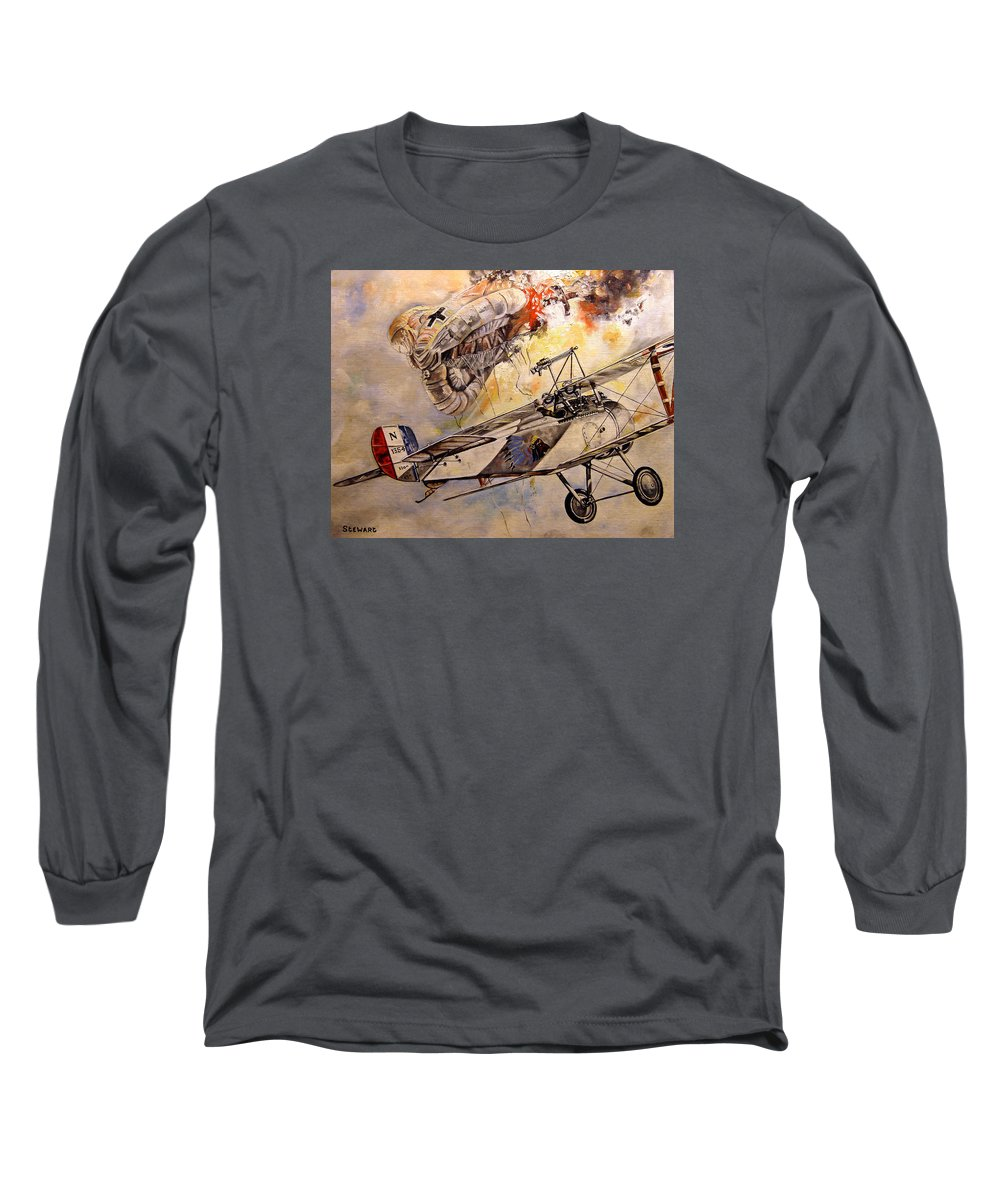 Military Long Sleeve T-Shirt featuring the painting The Balloon Buster by Marc Stewart