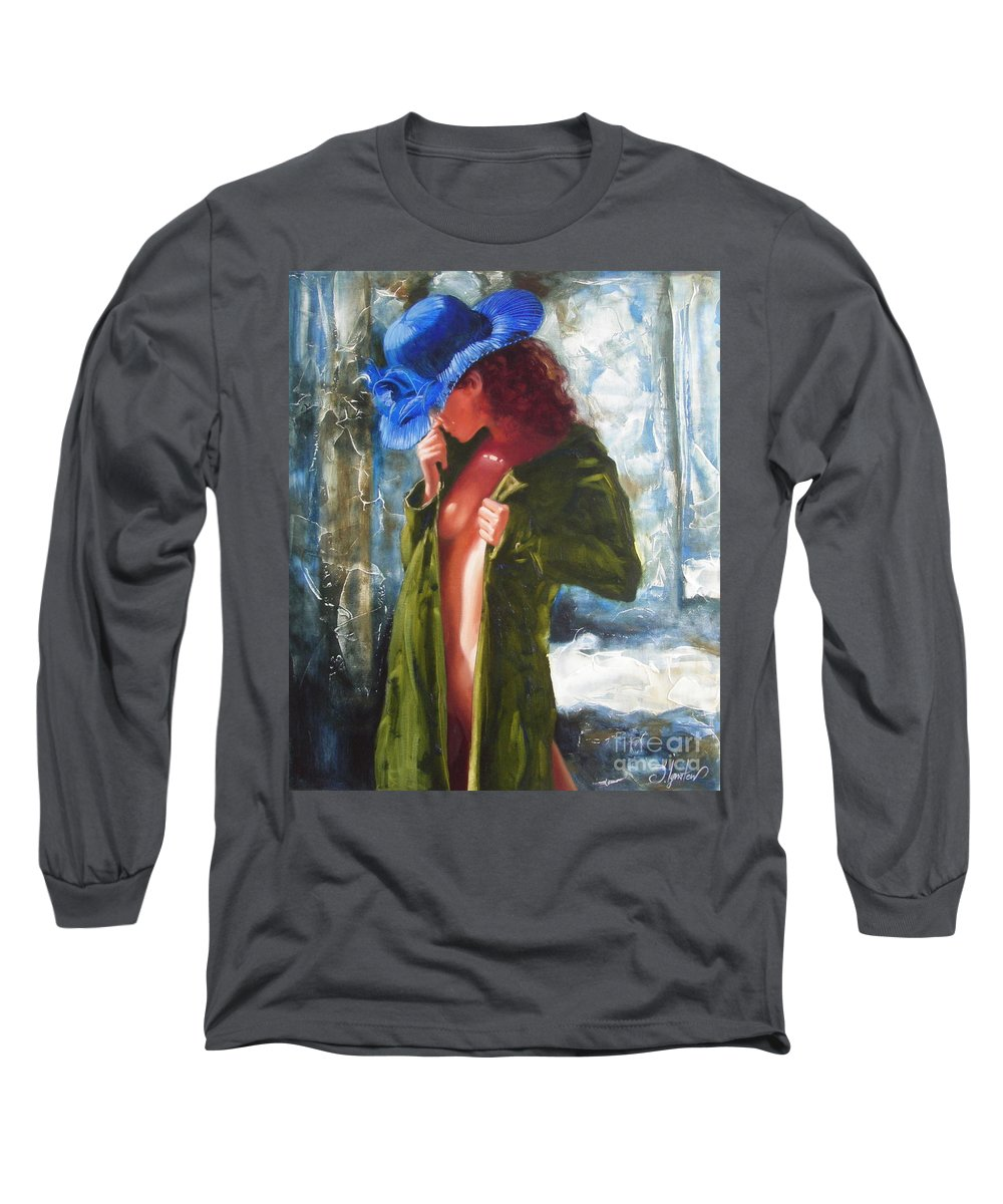 Art Long Sleeve T-Shirt featuring the painting The Blue Hat by Sergey Ignatenko
