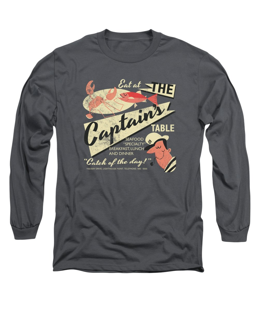 Fish Long Sleeve T-Shirt featuring the drawing The Captain's Table by Daviz Industries