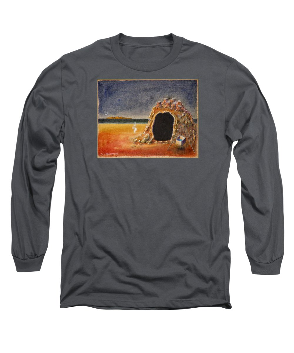 Metaphysacal Long Sleeve T-Shirt featuring the painting The Cave Of Orpheas by Dimitris Milionis