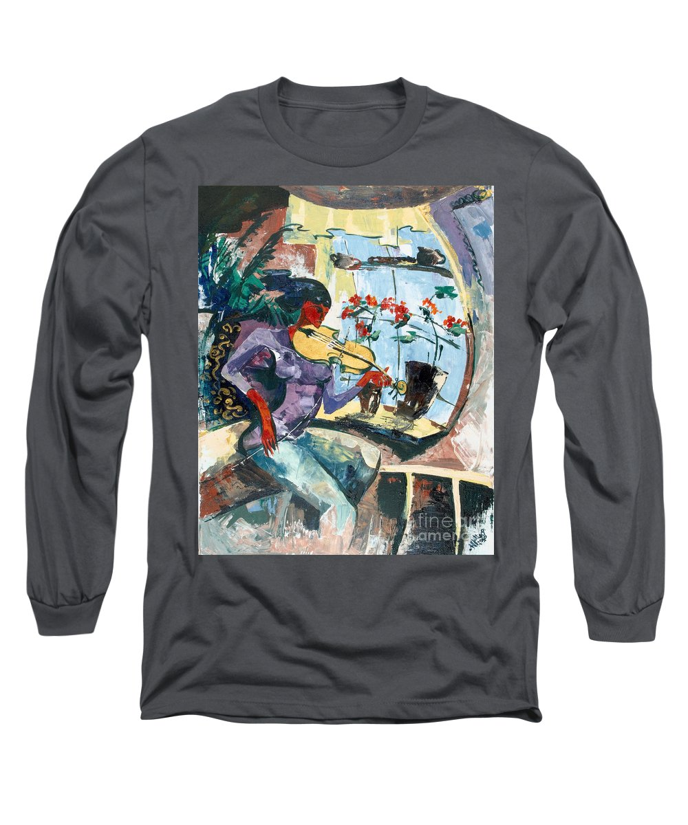 Music Long Sleeve T-Shirt featuring the painting The Color Of Music by Elisabeta Hermann