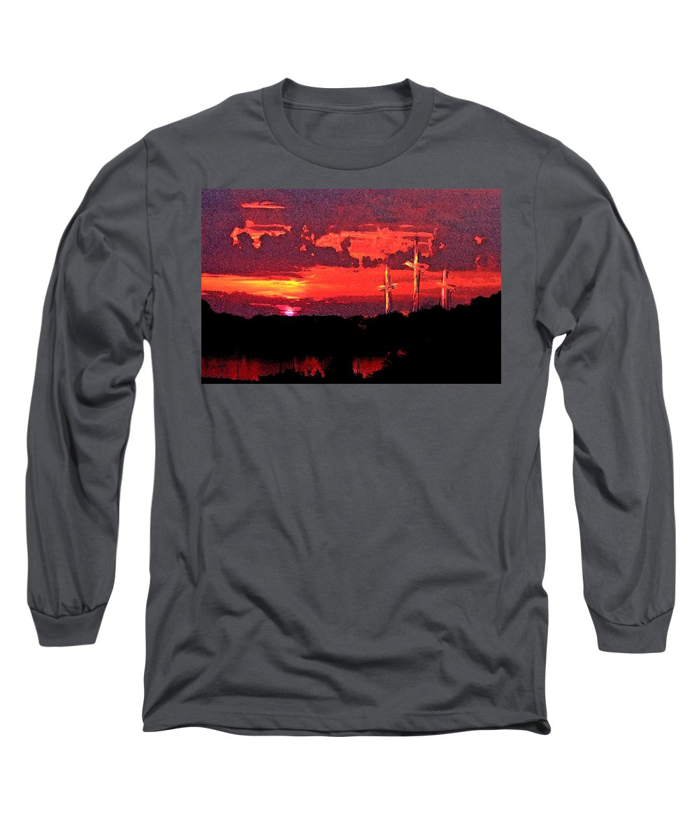 Abstract Long Sleeve T-Shirt featuring the painting The Crucifixtion by Rachel Christine Nowicki
