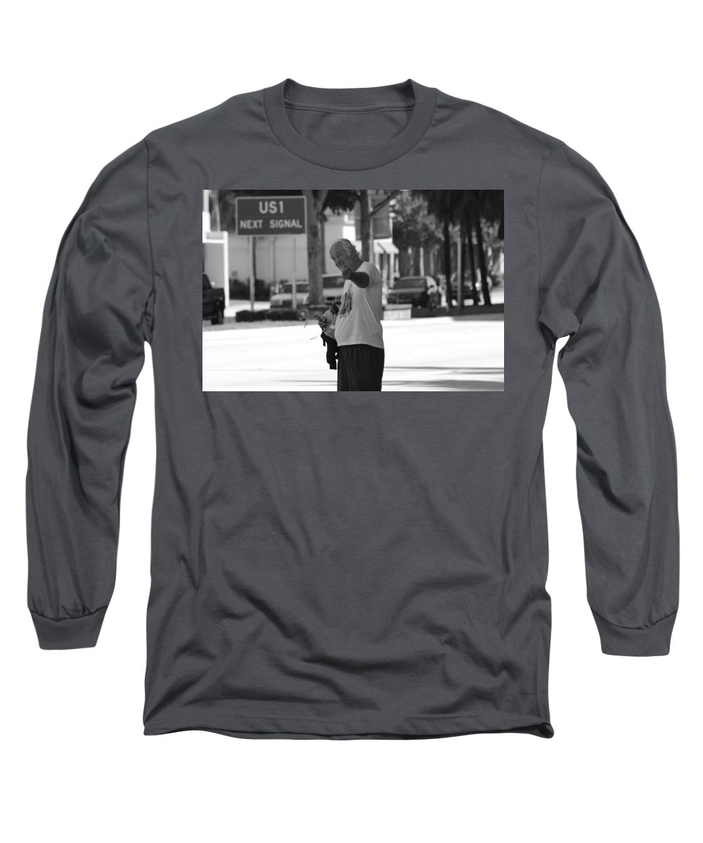 Black And White Long Sleeve T-Shirt featuring the photograph The Devil Man by Rob Hans