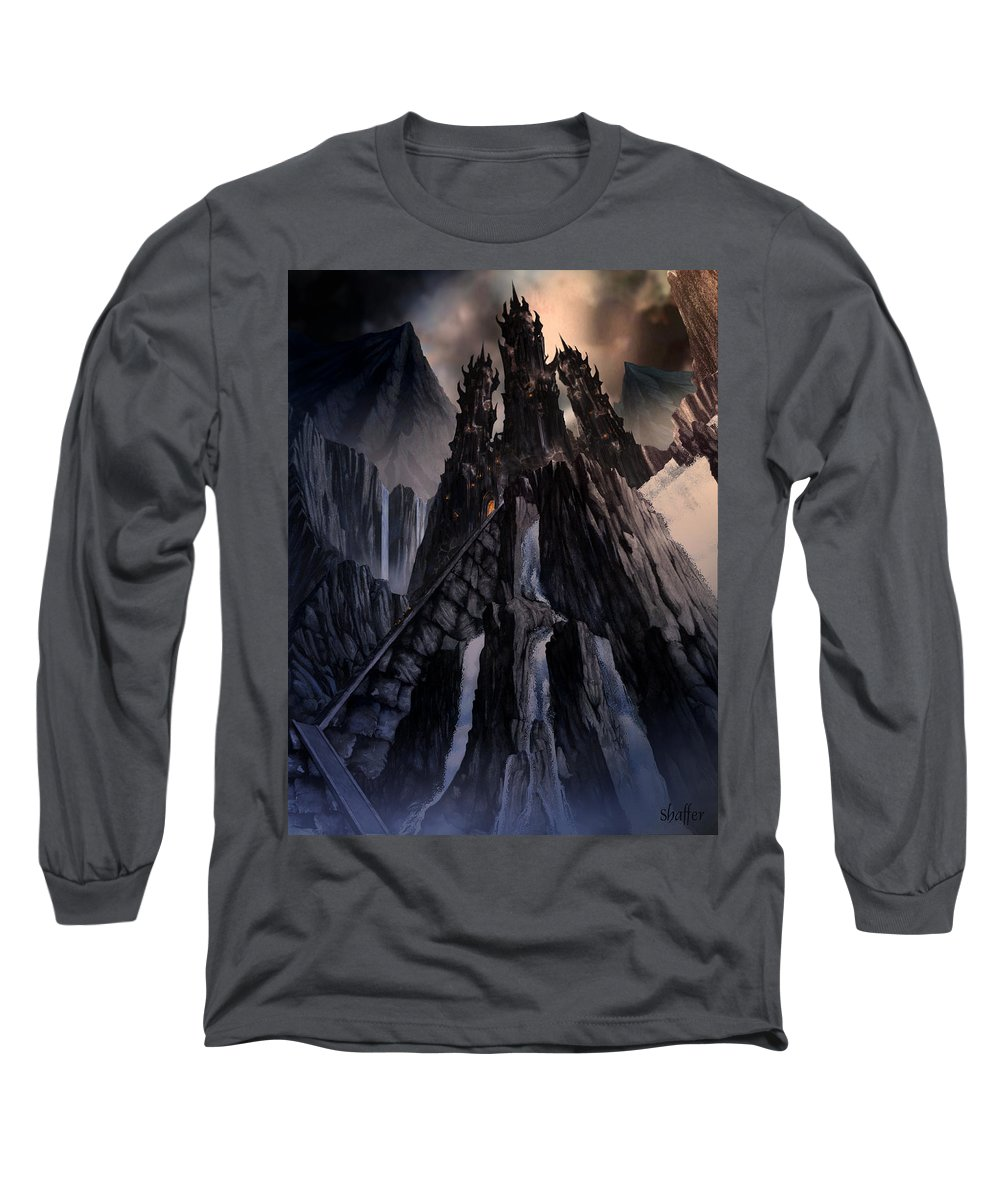 Architectural Long Sleeve T-Shirt featuring the mixed media The Dragon Gate by Curtiss Shaffer
