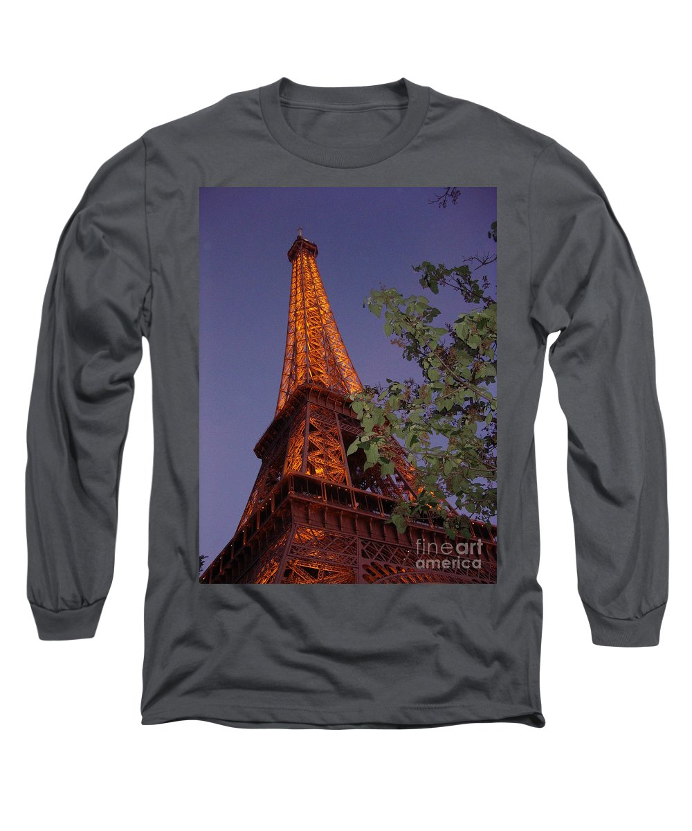 Tower Long Sleeve T-Shirt featuring the photograph The Eiffel Tower Aglow by Nadine Rippelmeyer