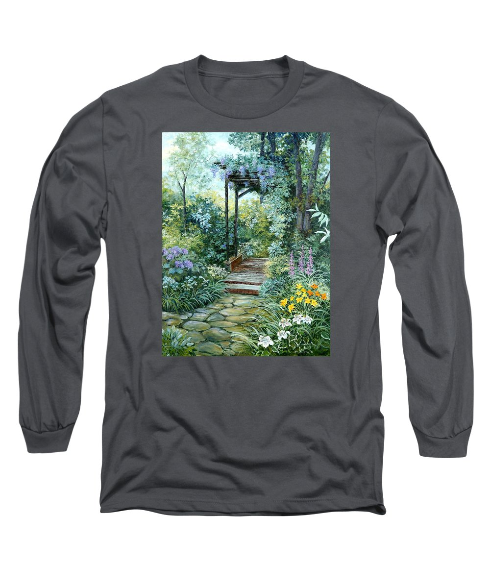 Oil Painting;wisteria;garden Path;lilies;garden;flowers;trellis;trees;stones;pergola;vines; Long Sleeve T-Shirt featuring the painting The Garden Triptych Right Side by Lois Mountz