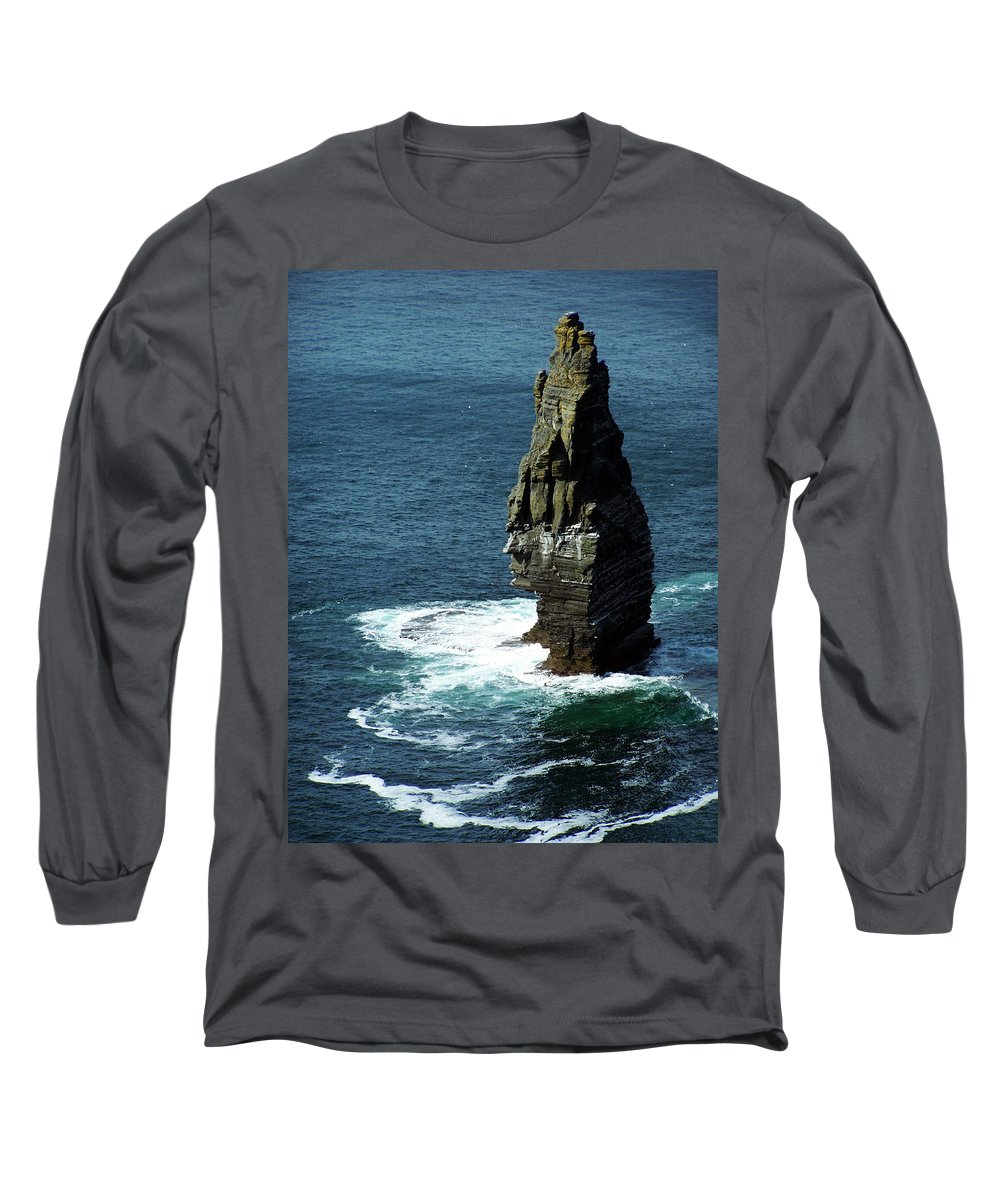 Irish Long Sleeve T-Shirt featuring the photograph The Great Sea Stack Brananmore Cliffs Of Moher Ireland by Teresa Mucha