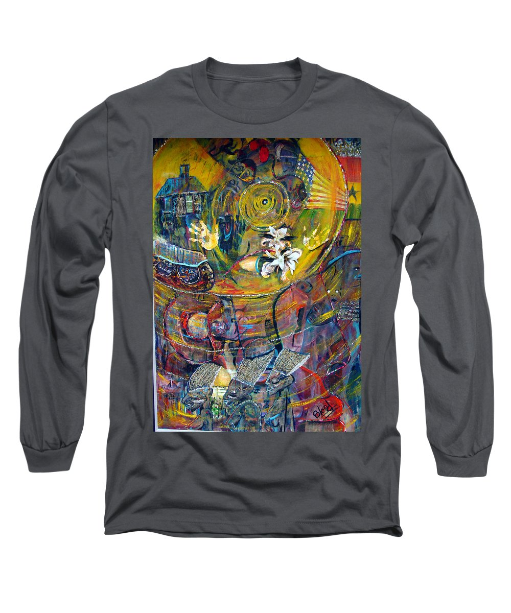 Figures Long Sleeve T-Shirt featuring the painting The Journey by Peggy Blood