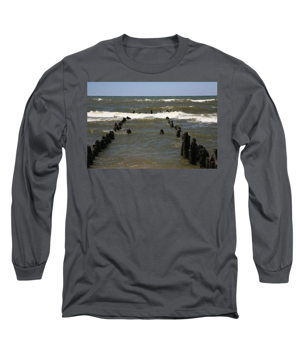Sand Surf Long Sleeve T-Shirt featuring the photograph The Last Wooden Pier by Robert Pearson