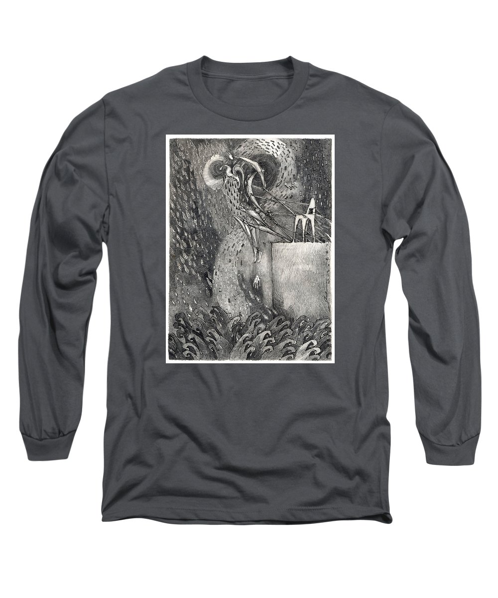 Leap Long Sleeve T-Shirt featuring the drawing The Leap by Juel Grant