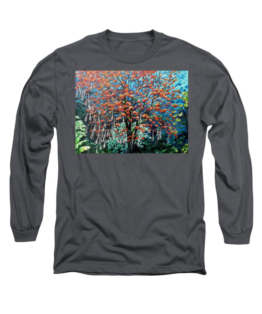 Tree Painting Mountain Painting Floral Painting Caribbean Painting Original Painting Of Immortelle Tree Painting  With Nesting Corn Oropendula Birds Painting In Northern Mountains Of Trinidad And Tobago Painting Long Sleeve T-Shirt featuring the painting The Mighty Immortelle by Karin Dawn Kelshall- Best