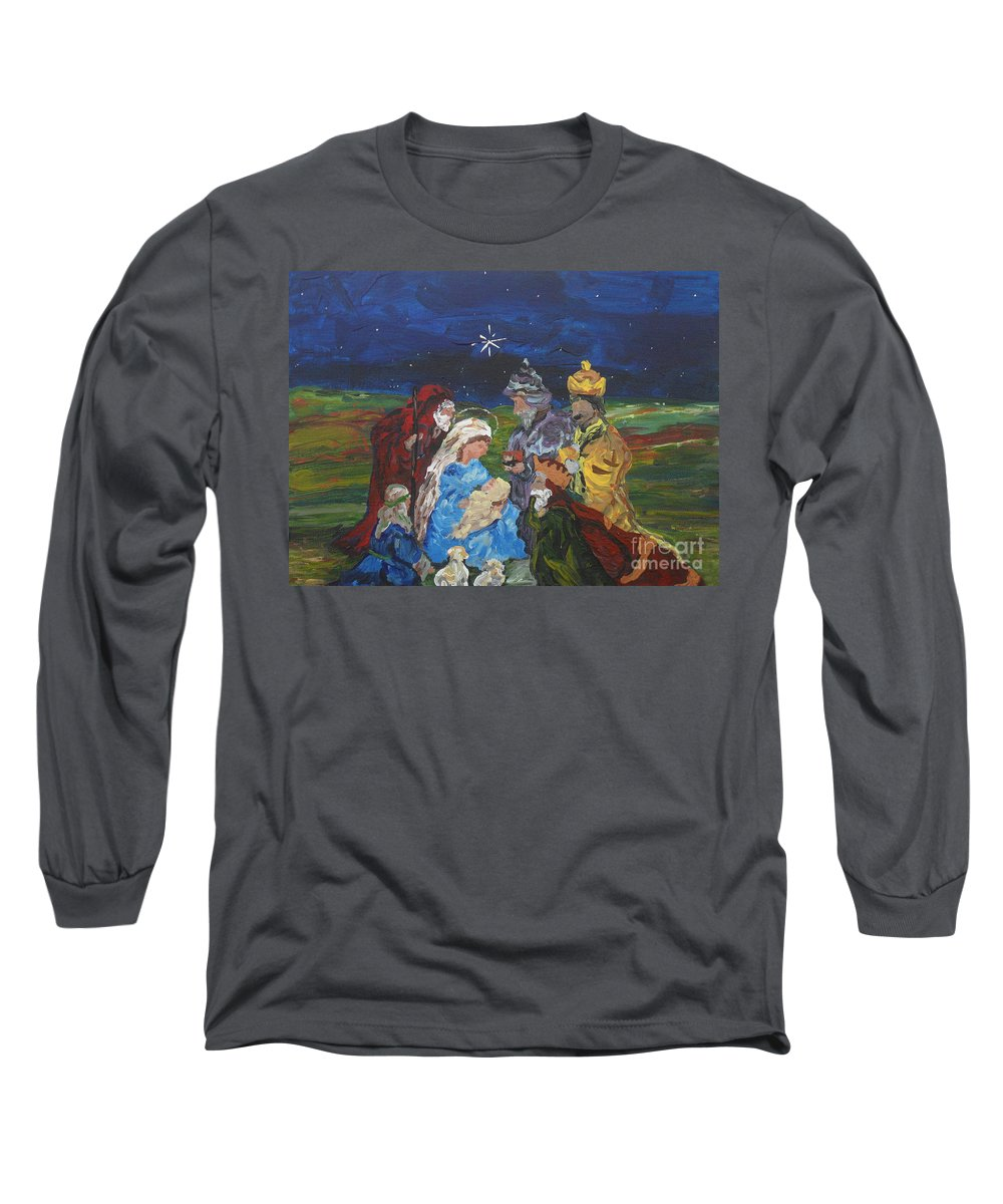 Nativity Long Sleeve T-Shirt featuring the painting The Nativity by Reina Resto