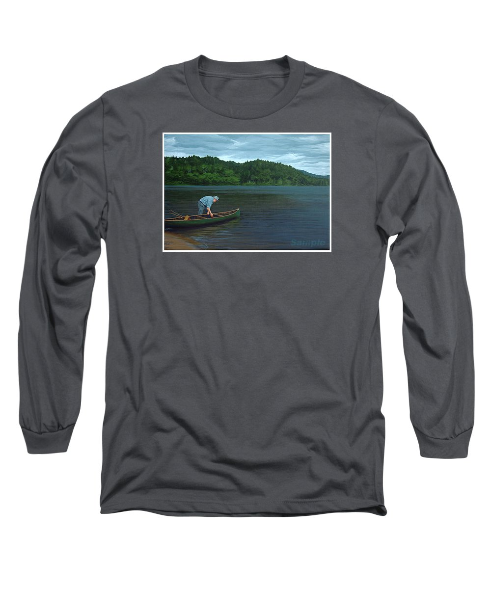 Landscape Long Sleeve T-Shirt featuring the painting The Old Green Canoe by Jan Lyons