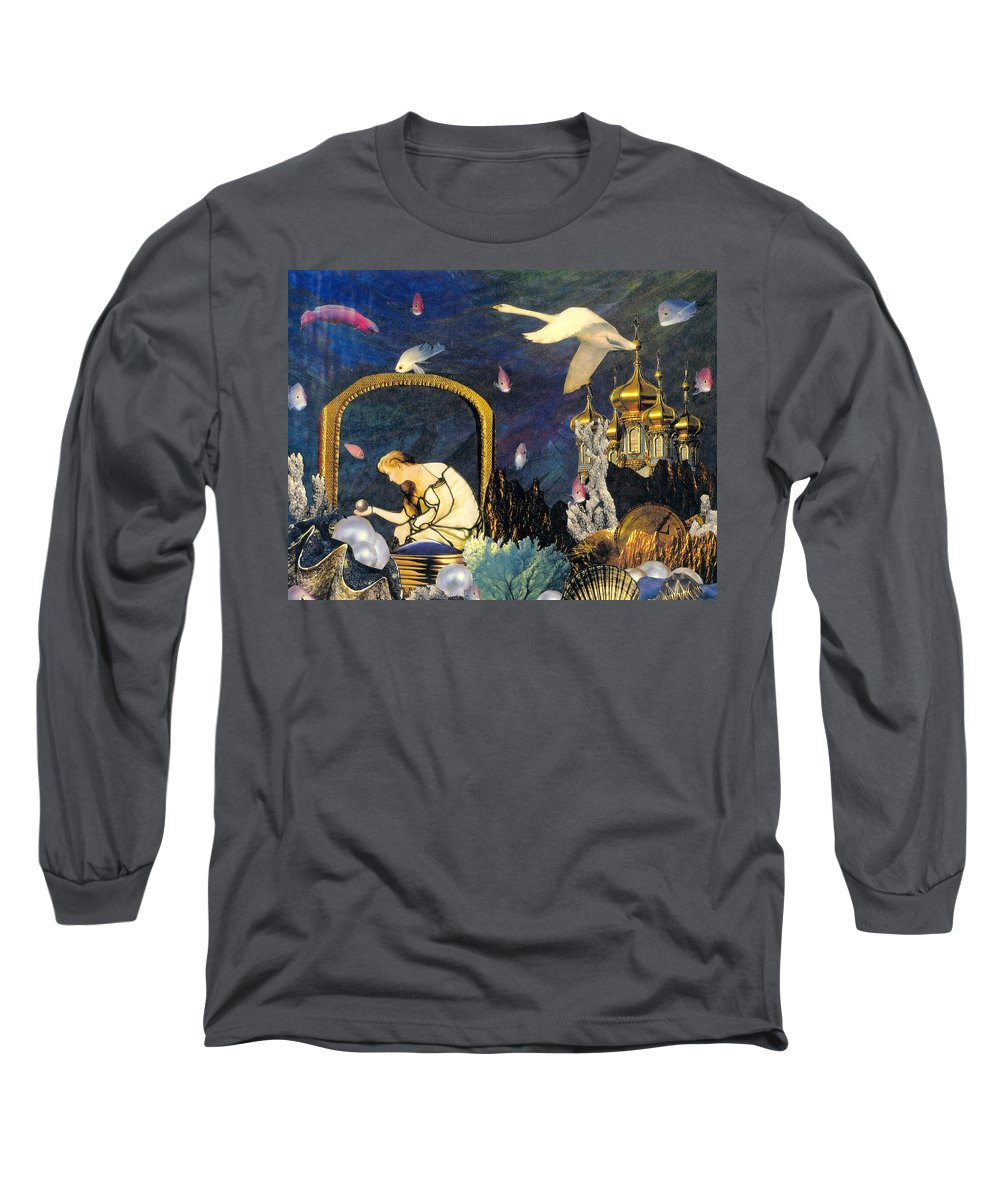Surealism Long Sleeve T-Shirt featuring the mixed media The Pearl Of Great Price by Gail Kirtz