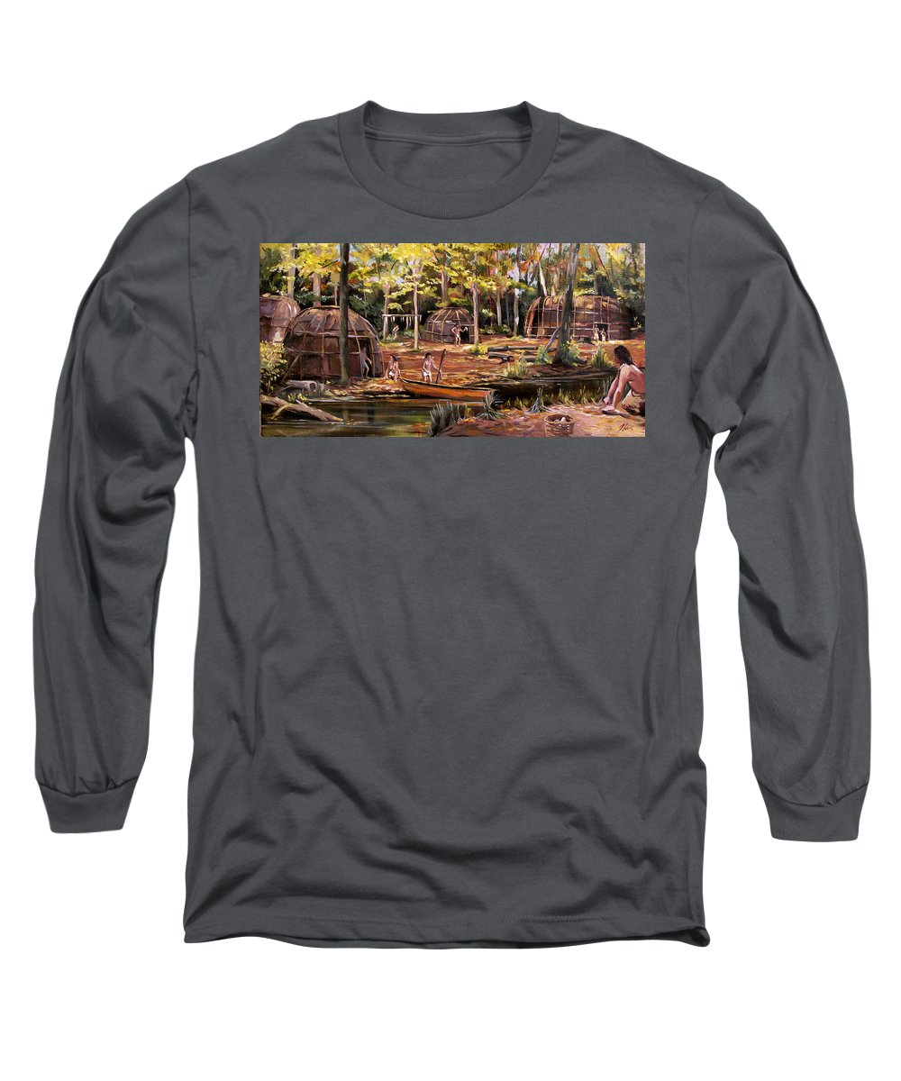 Institute Of American Indian Long Sleeve T-Shirt featuring the painting The Pequots by Nancy Griswold
