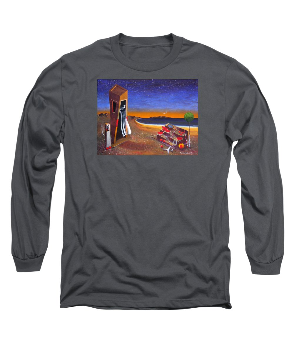 Landscape Long Sleeve T-Shirt featuring the painting The School Of Metaphysical Thought by Dimitris Milionis