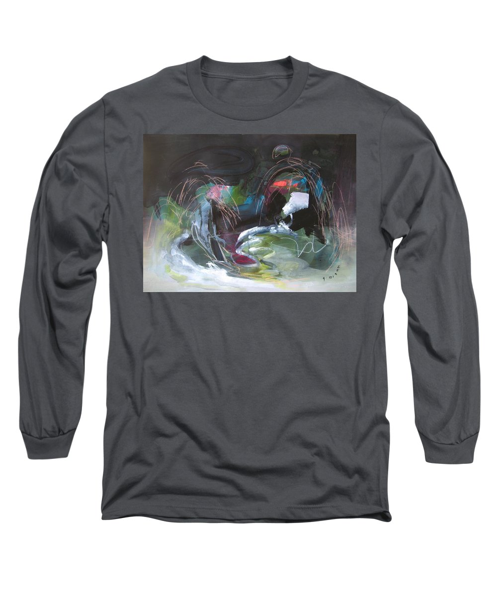 Abstract Long Sleeve T-Shirt featuring the painting The Secret Of The Shadow Original Abstract Colorful Landscape Painting For Sale Red Blue Green by Seon-Jeong Kim