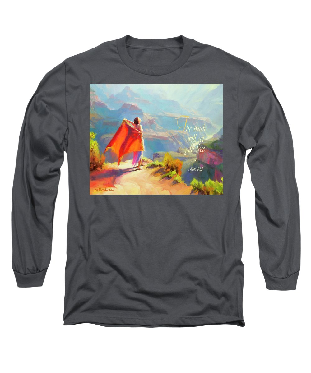Eyrie Long Sleeve T-Shirt featuring the digital art The Truth Will Set You Free by Steve Henderson