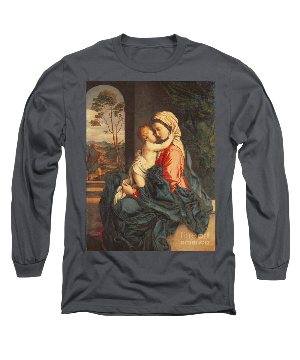 The Long Sleeve T-Shirt featuring the painting The Virgin And Child Embracing by Giovanni Battista Salvi
