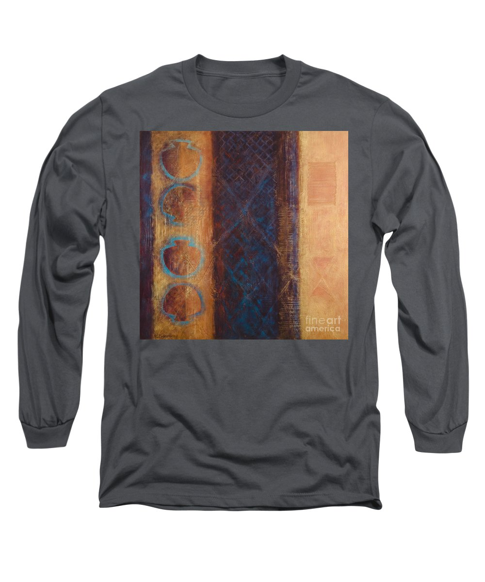 Abstract Long Sleeve T-Shirt featuring the painting The X Factor Alchemy Of Consciousness by Kerryn Madsen-Pietsch