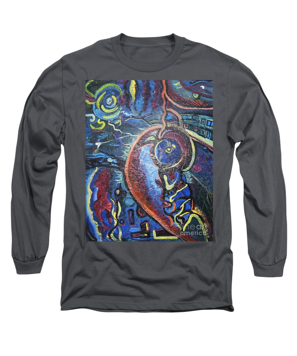 Abstract Contemporary Home Blue Oil Canvas Board Long Sleeve T-Shirt featuring the painting Thinking Of Home by Seon-Jeong Kim