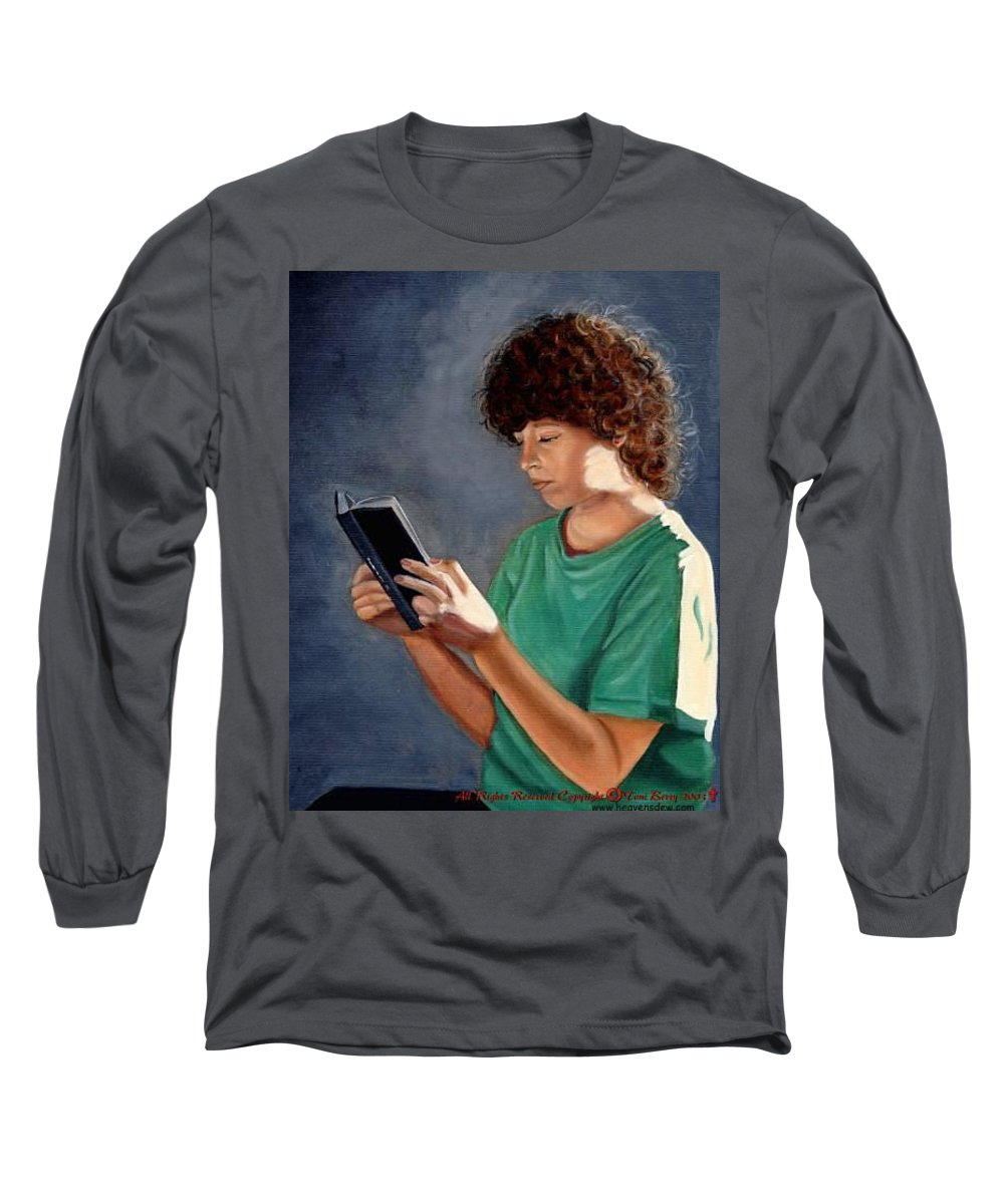 Portrait Long Sleeve T-Shirt featuring the painting Thirst For Knowledge by Toni Berry