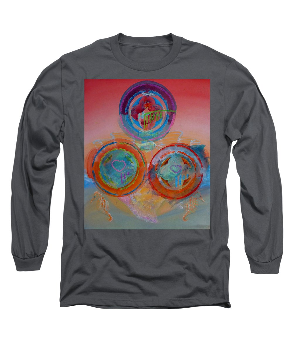Logo Long Sleeve T-Shirt featuring the painting Three On Marine by Charles Stuart