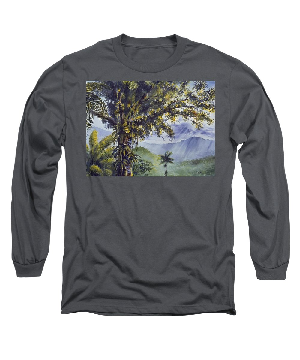 Chris Cox Long Sleeve T-Shirt featuring the painting Through The Canopy by Christopher Cox