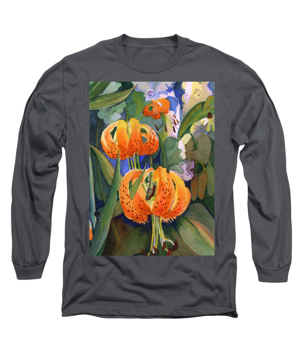 Flower Long Sleeve T-Shirt featuring the painting Tiger Lily Parachutes by Nancy Watson