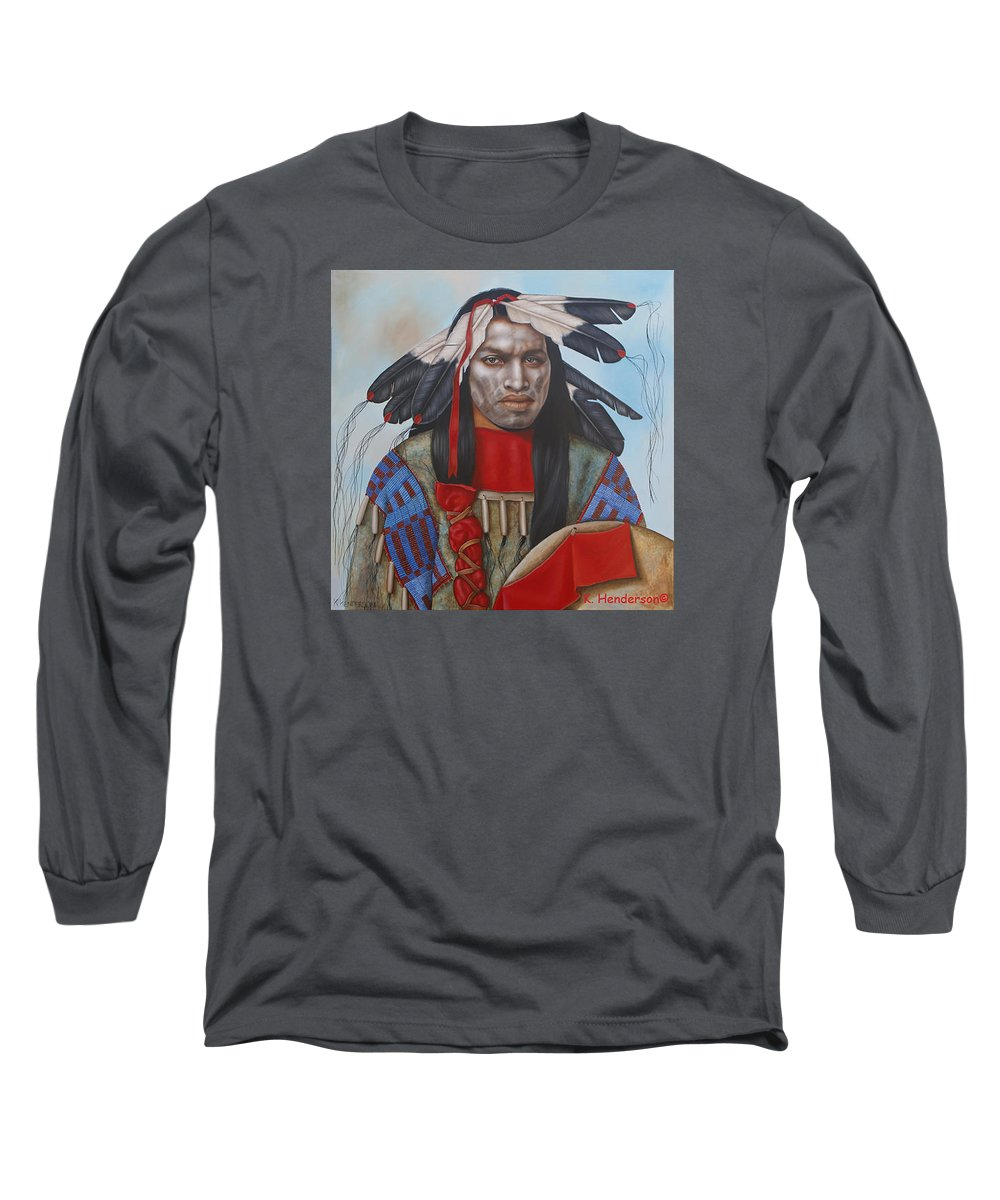 American Indian Long Sleeve T-Shirt featuring the painting Time Is At Hand by K Henderson