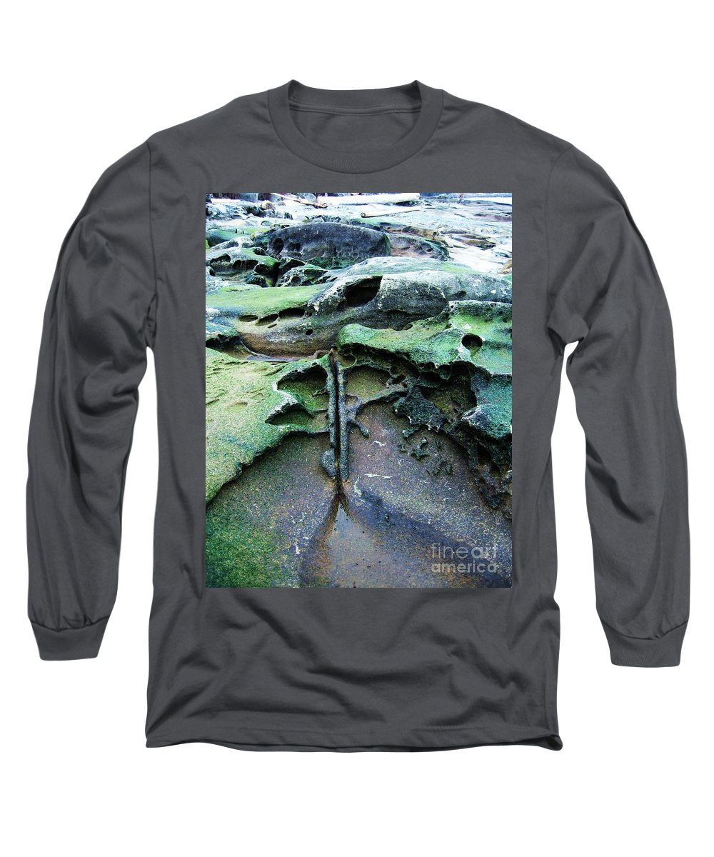 Photograph Rock Beach Ocean Long Sleeve T-Shirt featuring the photograph Time Washed Out by Seon-Jeong Kim