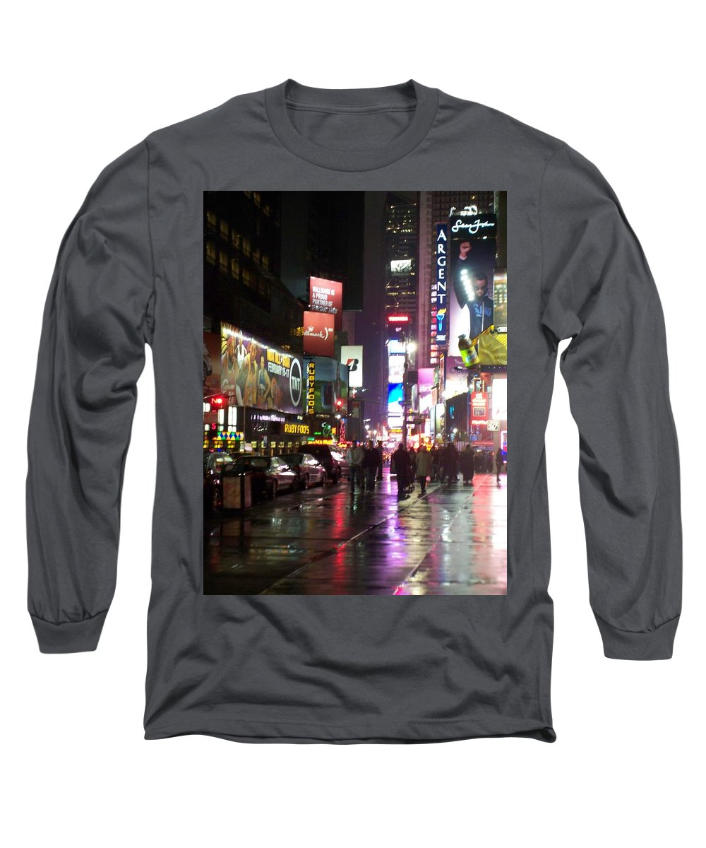 Times Square Long Sleeve T-Shirt featuring the photograph Times Square In The Rain 1 by Anita Burgermeister