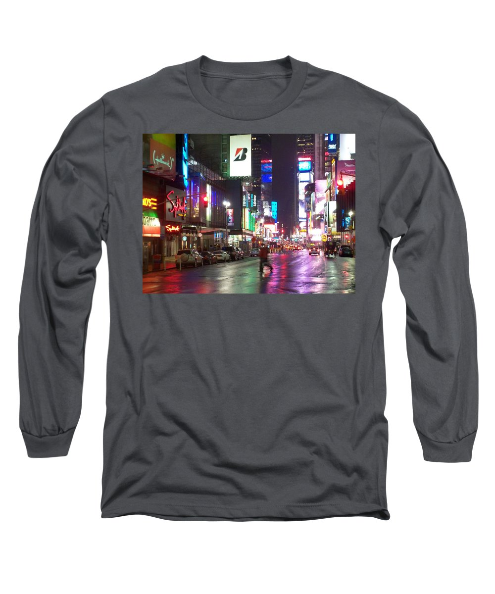 Times Square Long Sleeve T-Shirt featuring the photograph Times Square In The Rain 2 by Anita Burgermeister