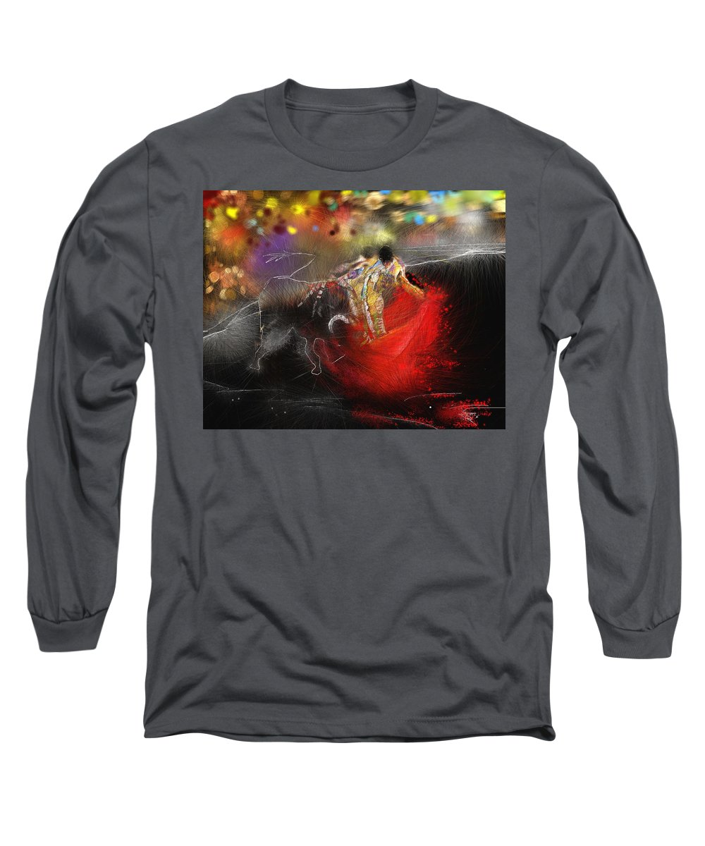 Animals Long Sleeve T-Shirt featuring the painting Toroscape 18 by Miki De Goodaboom