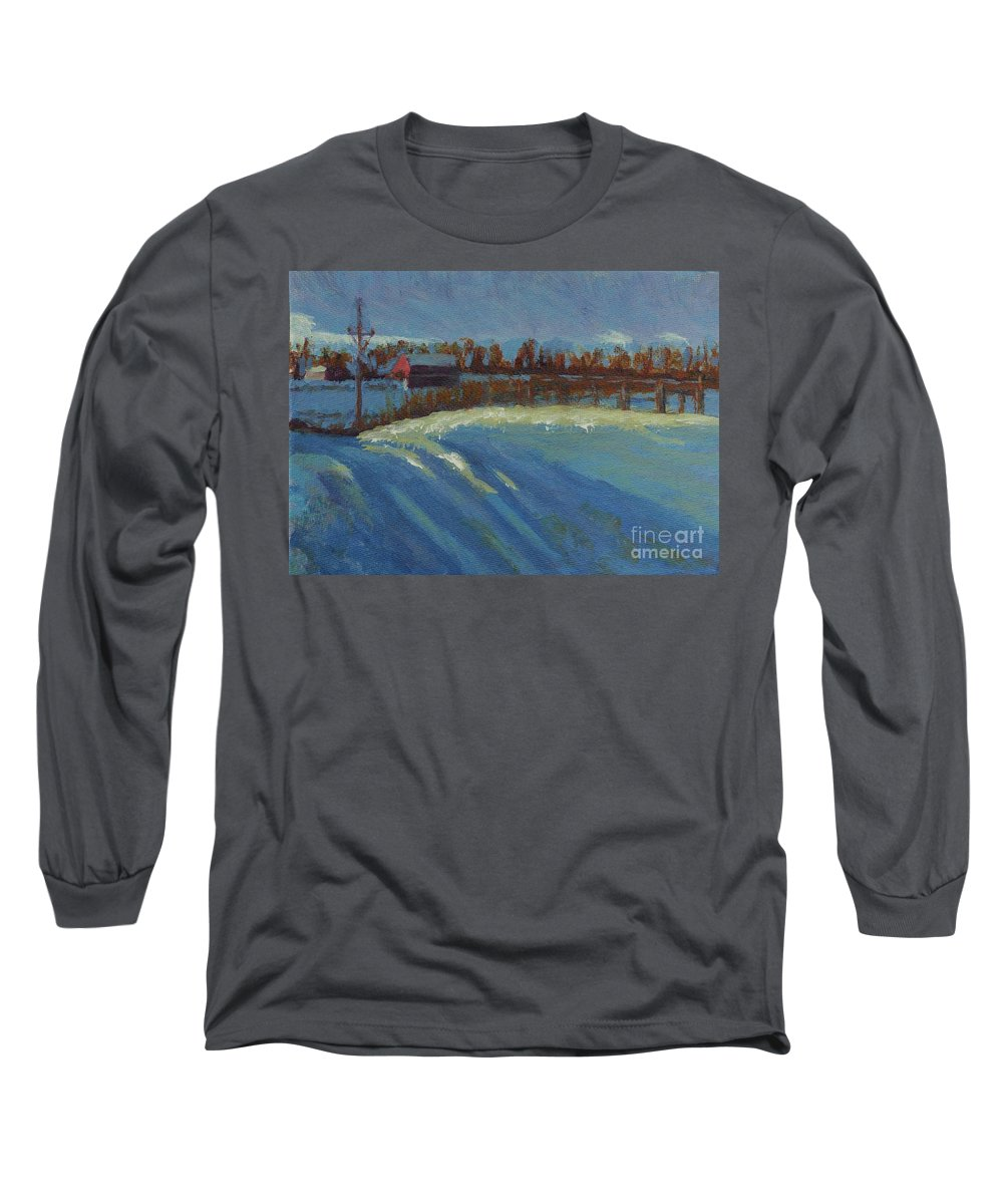 Snow Long Sleeve T-Shirt featuring the painting Tracks In The Snow by Laura Toth