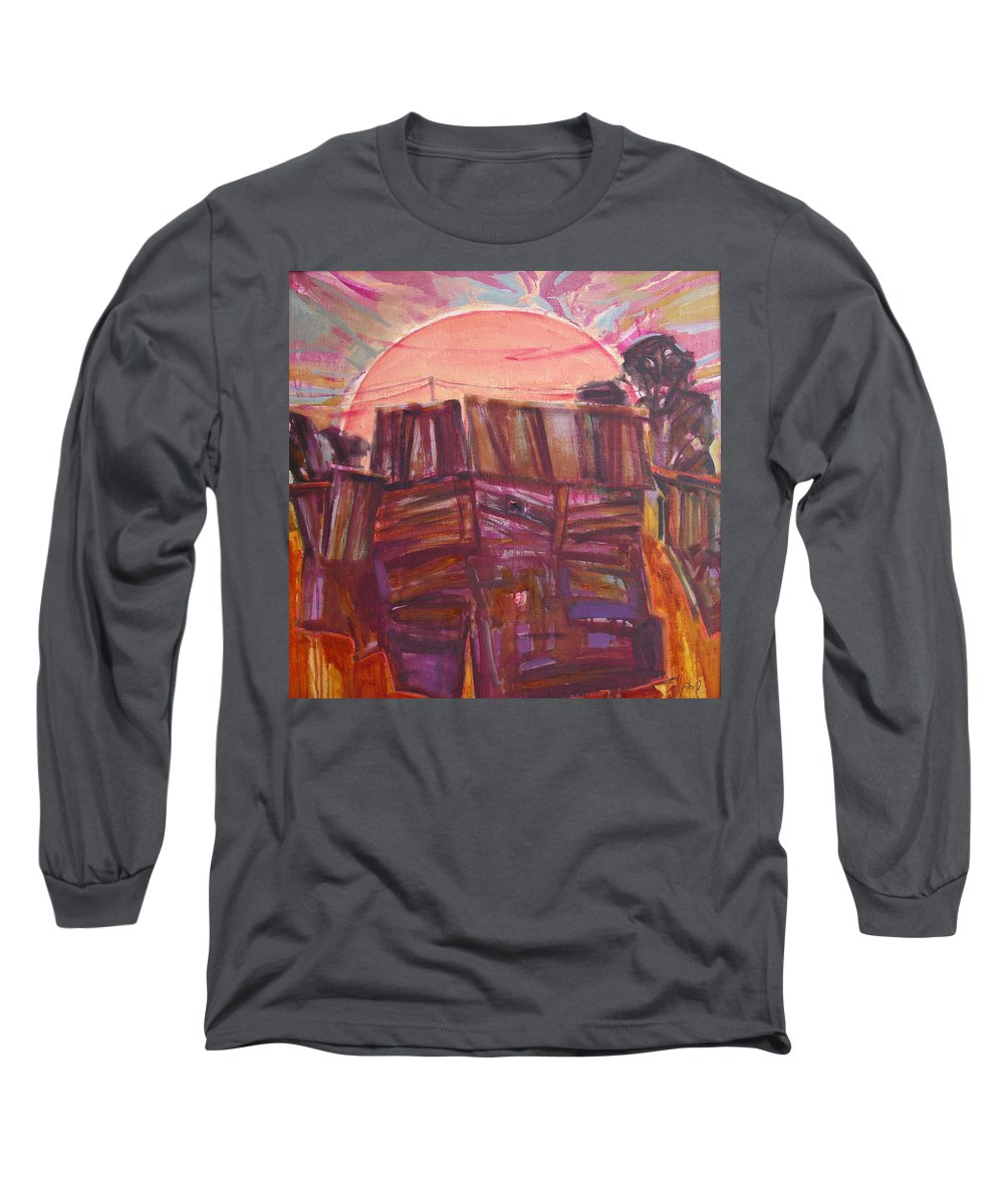 Oil Long Sleeve T-Shirt featuring the painting Tracks by Sergey Ignatenko