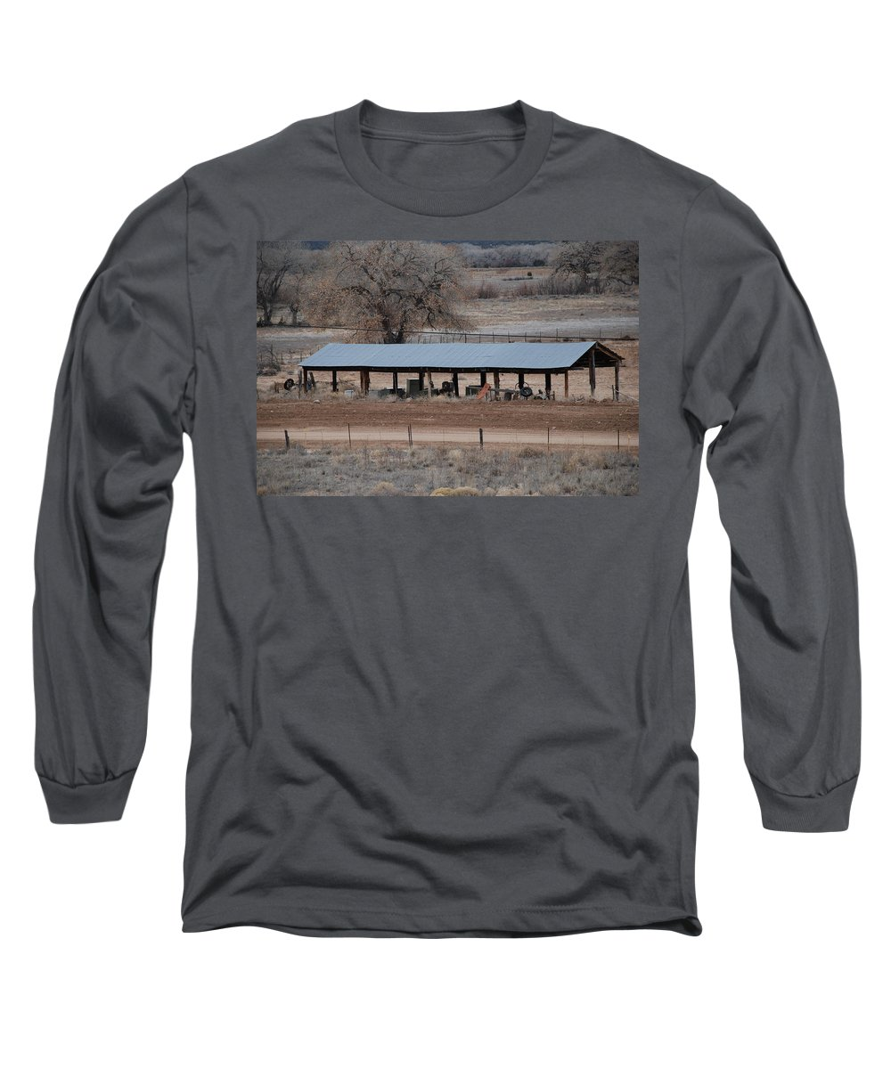 Architecture Long Sleeve T-Shirt featuring the photograph Tractor Port On The Ranch by Rob Hans