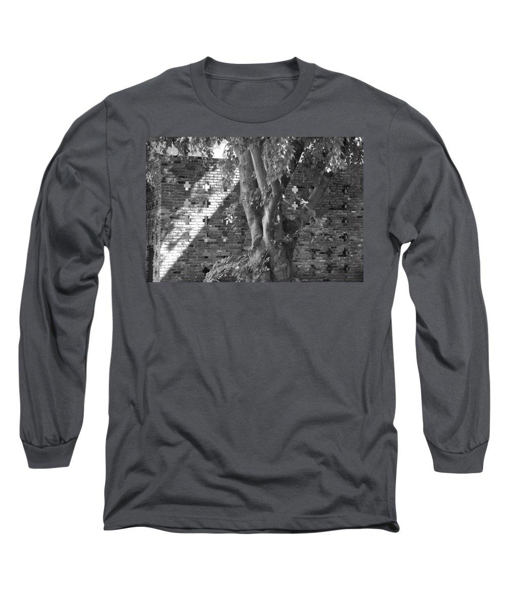 Trees Long Sleeve T-Shirt featuring the photograph Trees And Brick Crosses by Rob Hans